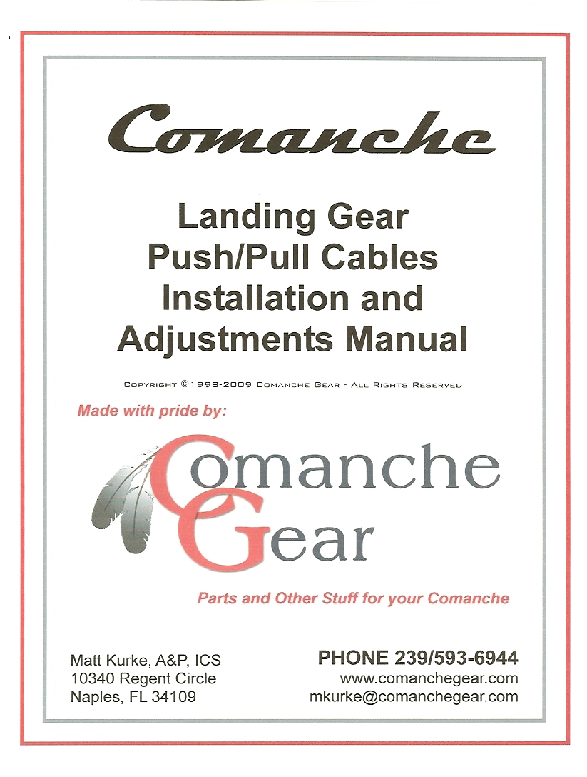 Comanche landing gear push pull cables installation and adjustment manual cover