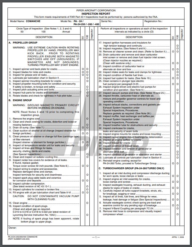 piper comanche inspection report cover
