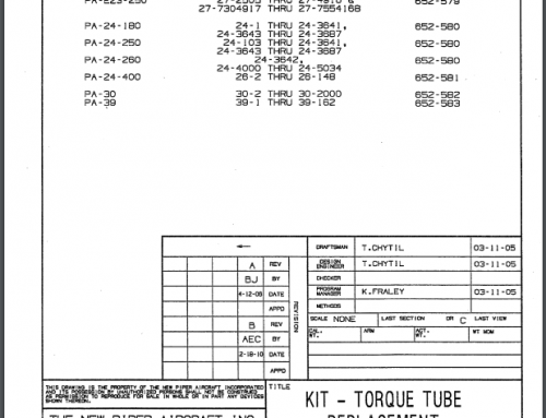 Service Bulletin 1189-88372, Torque Tube Replacement Kit